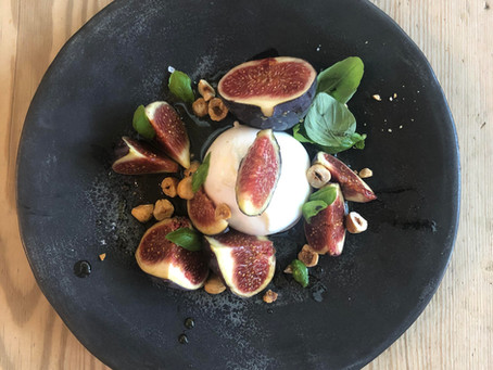 FIGS WITH BURRATA, BASIL, HAZELNUTS & HONEY