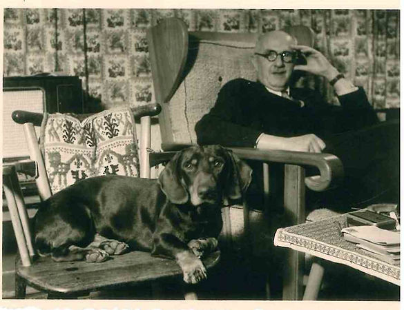 Hans Posse with dachshund, great grandfather of Ursula Werner, author of The Good at Heart