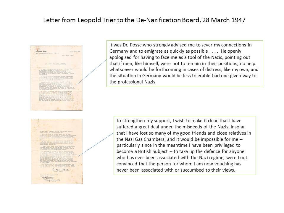 Letter from Leopold Trier in support of Hans Posse, Ursula Werner's great grandfather