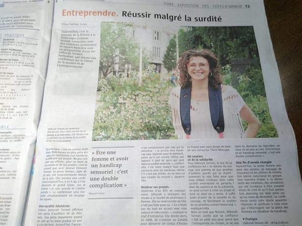 Entreprendre au féminin et handicap en Bretagne sour malentenandant france