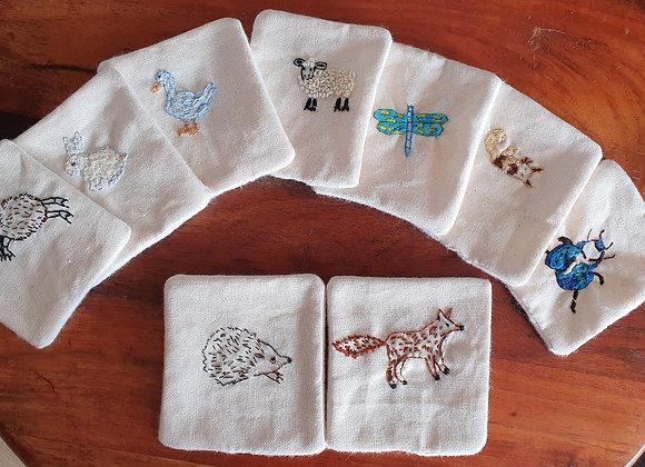Coton bio brodé animaux