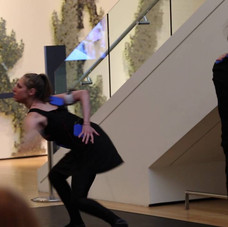 Tracing ahistoric trajectory of music/dance interaction, SCORES! takes the audience on anaestheticjourney starting withBaroque, through Romantic andContemporary approaches, and ending with structured improvisationfeaturing wearable technologydesigned to produce auditory output from articulated movement.    The evening-length performance premiered at the Museum of Fine Arts, Boston in May of 2016. The brief excerpt shows dancers Talia Rothstein and Tessa Markewich performing withwearable pressure sensors in the LindeFamily Gallery, withmusical improvisation featuringviolinist Daniel Kurganov (not shown).