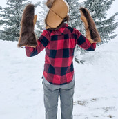 Beaver Fur & Leather Trapper's Hat & Mitts