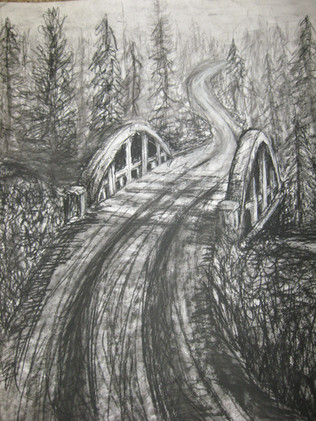 Bridge Through Forest Charcoal Drawing