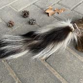 Skunk tail fur keychain