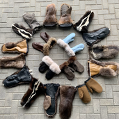 Fur and leather mittens