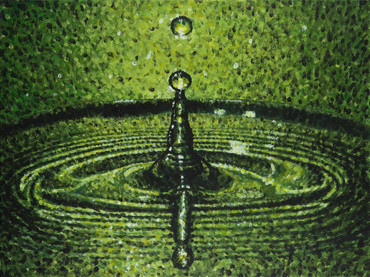 Green Water Drop Acrylic Painting