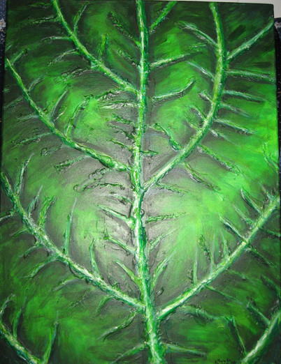 Green Textured Leaf Acylic Painting