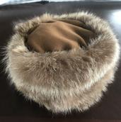 Raccoon fur pillbox hat