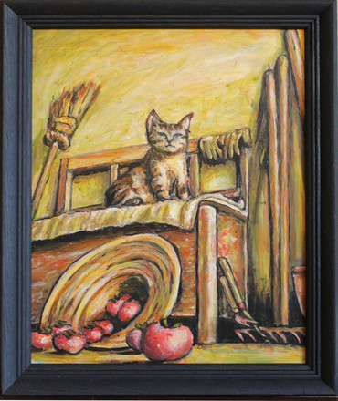 Kitten on Farm House Porch With Tomatoes Acrylic Painting