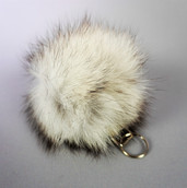 Arctic fox fur pompom keychain