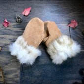 Children's leather and rabbit fur mittens