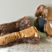 Beaver fur mitts and hat