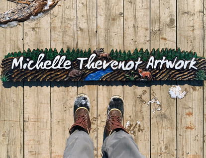 Custom Carved Sign - Power Carving - Michelle Thevenot Artwork - Nature Inspired