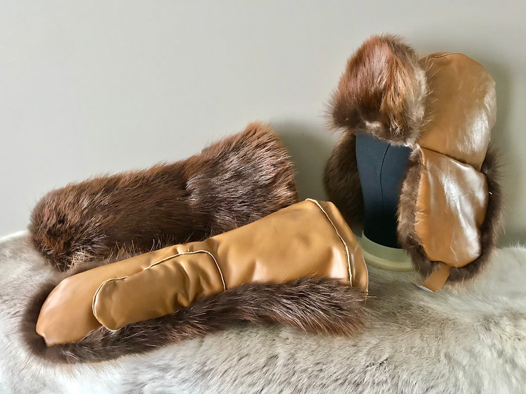 Beaver Fur and Leather Gauntlet Mittens and Trappers Hat Created by Michelle Thevenot Artwork