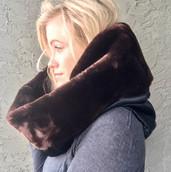 Shearling sheepskin infinity scarf
