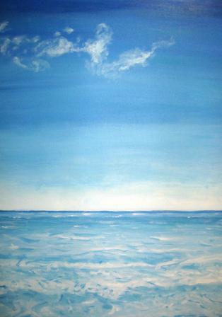 Blue Ocean & Sky Acrylic Painting
