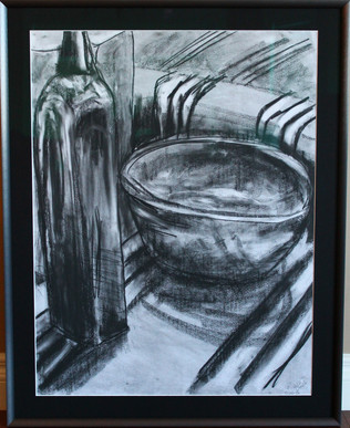 In the Kitchen Charcoal Drawing by Michelle Thevenot