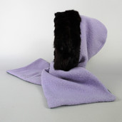 Wool and rabbit fur hooded scarf