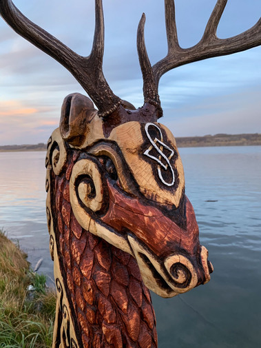 Viking Ship Figurehead - Norse Stag Deer - Detail Head