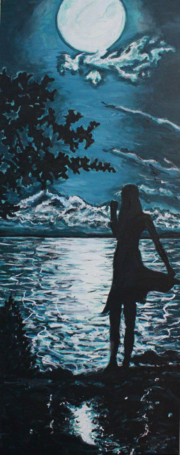 I'll Be Seeing You - Girl By The Lake At Moonlight Acylic Painting