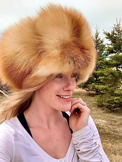 Woman Wearing Red Fox Fur Hat Created by Michelle Thevenot Artwork