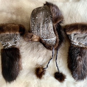 Beaver Fur and Leather Hat and Mitts