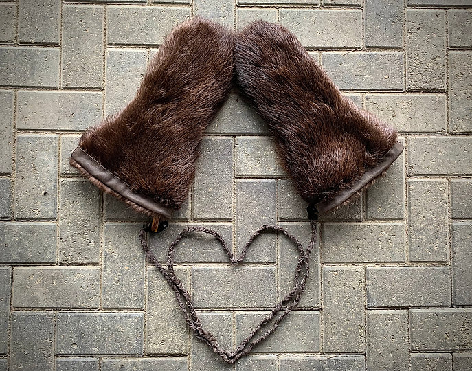 Beaver Fur Mitts With Gray Leather Mitten Harness String - Created by Michelle Thevenot Artwork