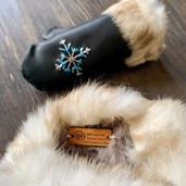 Shearling sheepskin lined mittens