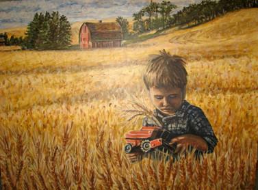 Boy In Farmer's Field Acrylic Painting