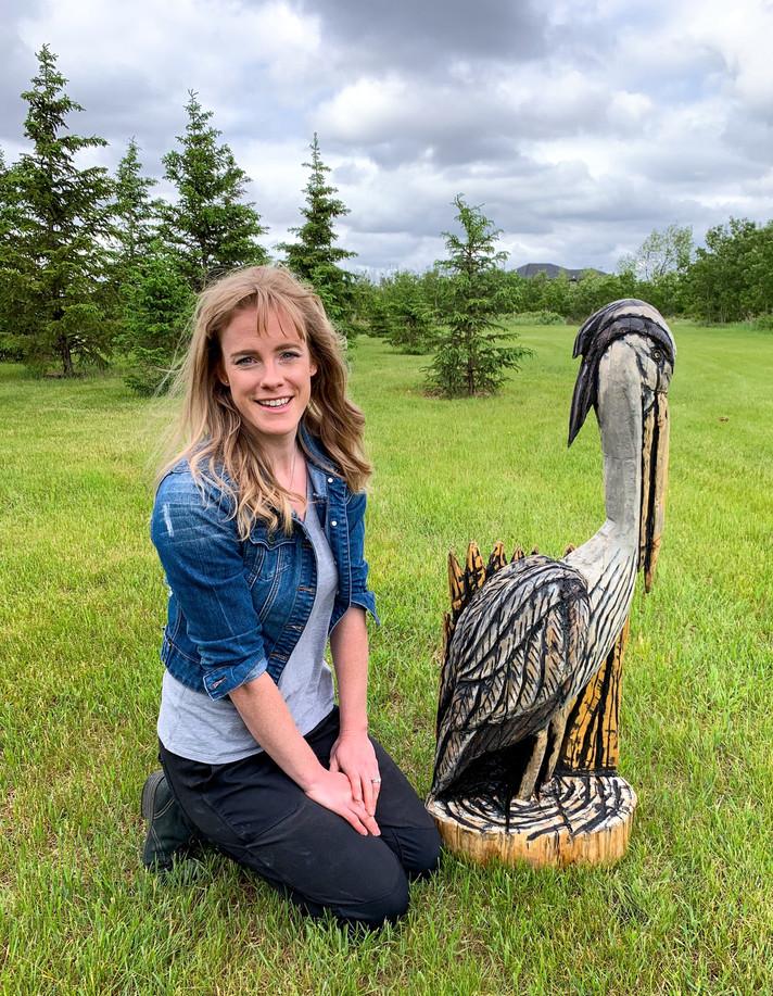 Great Blue Heron Bird  Log Sculpture - Michelle Thevenot Artwork - Saskatchewan Chainsaw Carver