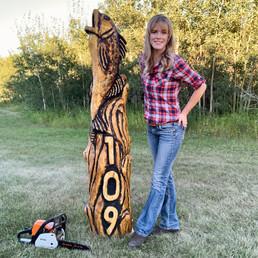 Fish Address Post  Log Sculpture - Michelle Thevenot Artwork - Saskatchewan Chainsaw Carver