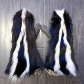 Skunk fur mitts