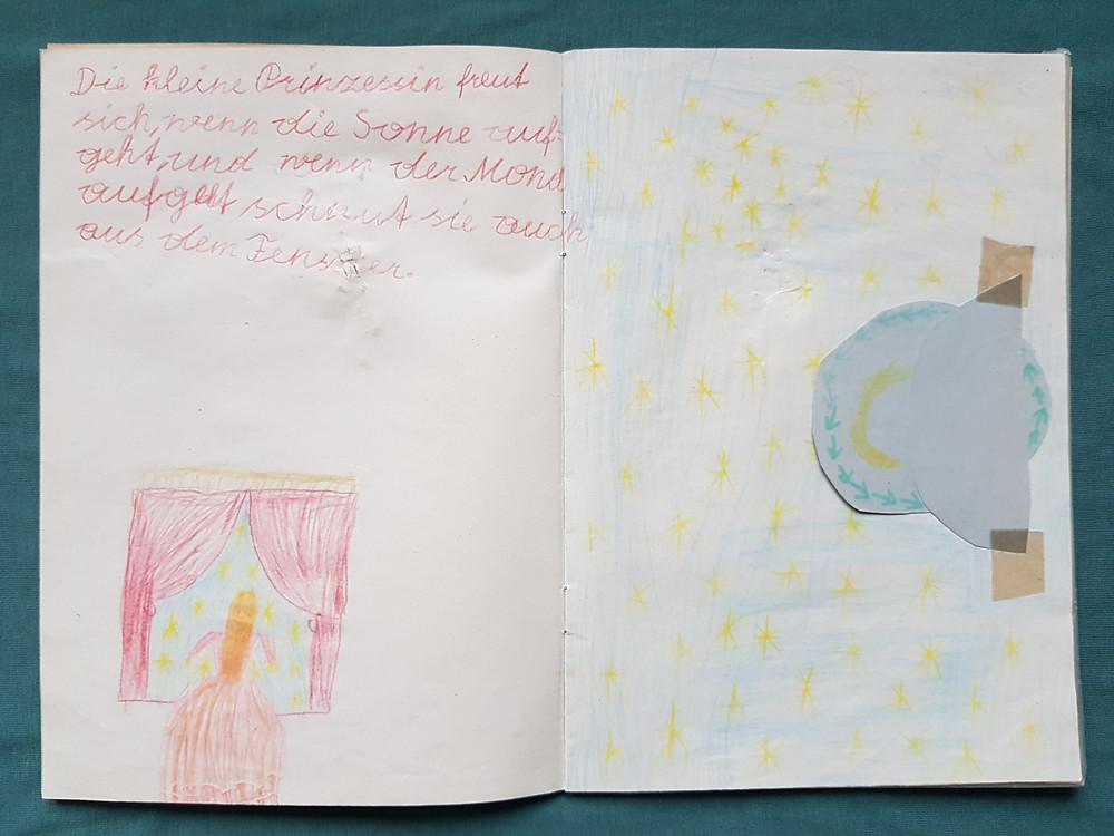 Prinzessin, Fenster, Bilderbuch, Mond, Sterne, Himmel, Sonne.