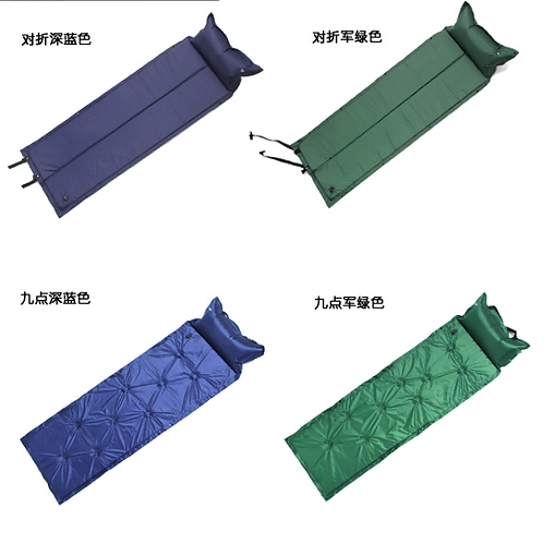 Camping Self-Inflating Sleeping Mat with Attached Inflatable Pillow