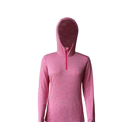 Women's long-sleeve zip neck hoody