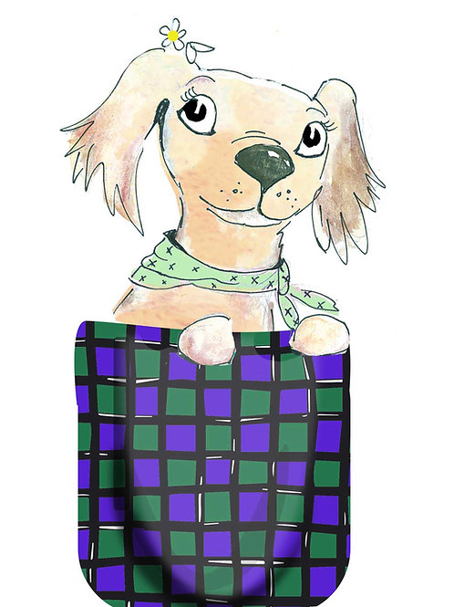 Pocket Daisy Tee Shirt (Blue Tiles)
