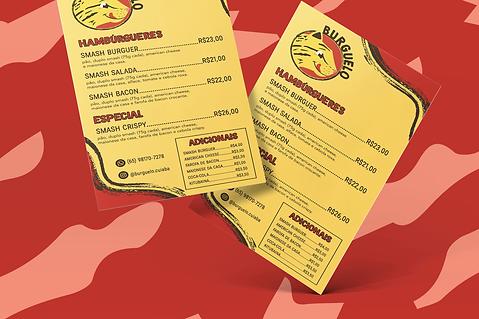 Dois cardápios nas cores amarelo e vermelho com a logotipo de uma hamburgueria. A logotipo é formada por uma onça pintada com um rosto amigável e a língua para fora, como se estivesse com fome. Em volta dela há um círculo vermelho com contorno preto, e o nome da empresa, chamada Burguelo. Abaixo do logotipo podemos ver as opções do cardápio, como hambúrgueres e valores.