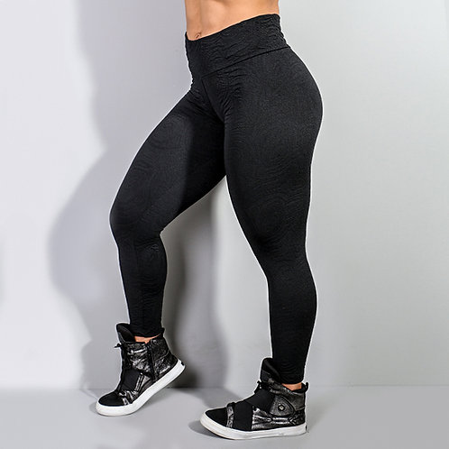 Legging fusô texturizada preta