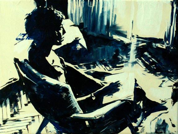 Q_stencil, sitter in Studio, oil on canvas, 30X40, 2014.JPG