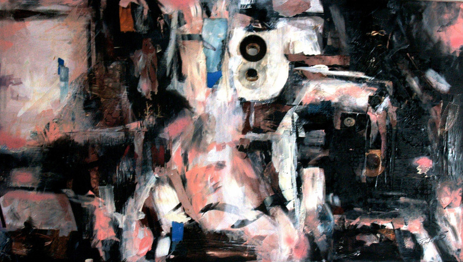 c2 paris like jazz 80X140cm, collage, acrylic on canvas, 2008.JPG