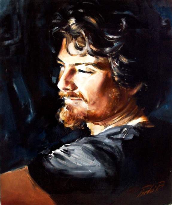 Young man in a spot of light, oil on canvas, 50X60 cm, Museum IT.JPG