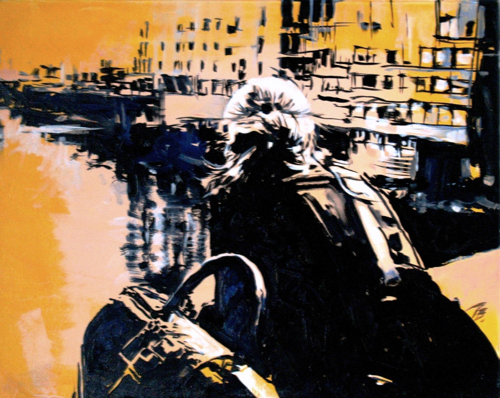 Ponte vecchioQ_op&stencil sis on Ponte Vecchio, oil on canvas, 40X50cm, 2014.JPG