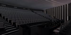 Общий вид зала. Приглушенный свет.