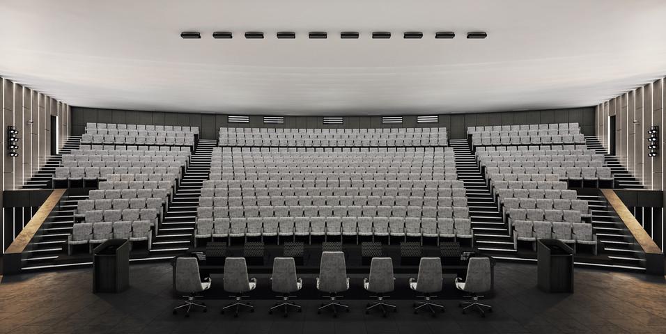 Общий вид зала от президиума. Нормальное освещение.