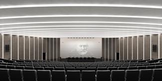 Общий вид зала на президиум. Нормальное освещение.