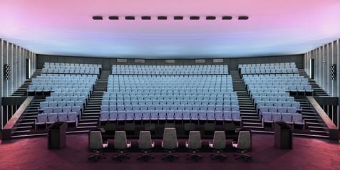 Общий вид зала от президиума. Световой переход.