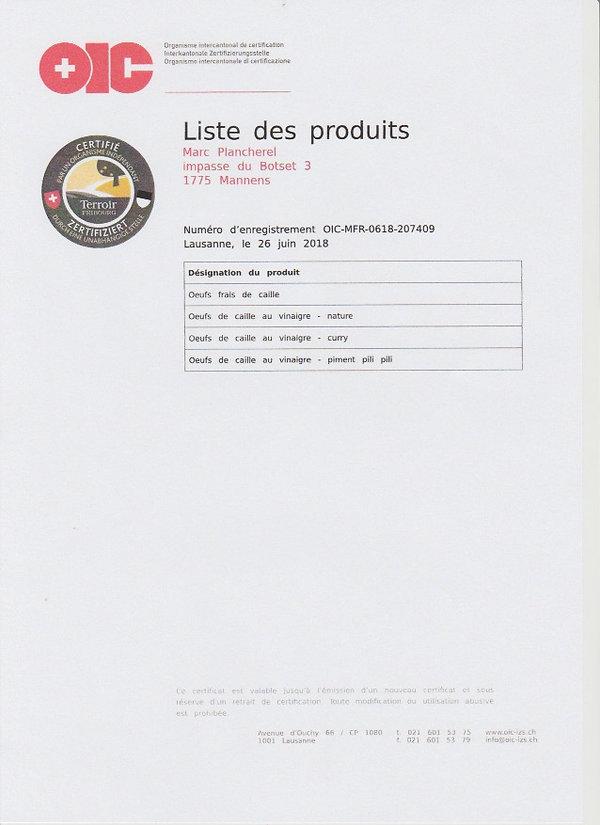 Liste des produits certifiés terroir fribourg