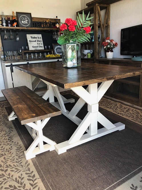 6ft Farmhouse Dining Table & Bench