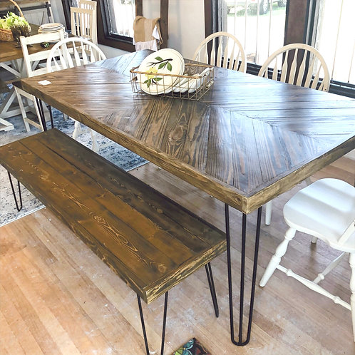 6ft Chevron Dining Table with Hairpin Legs